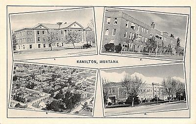 Hamilton Montana~Hospital~Public Health~Aerial View~High School~1940s Postcard