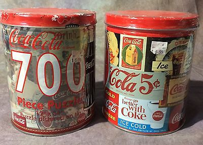 TBJ 2 VINTAGE JIGSAW PUZZLE TINS 1990's FROM COCA-COLA NEW & UNOPENED 700 PIECES