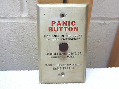 Gimmick Advertising PANIC BUTTON Aluminum Switch Plate~Eastern Etching & Mfg. Co
