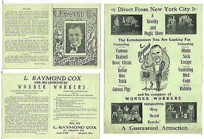 Magician L. Raymond Cox-4 page Show Flyer-Opens to a poster-ca.1930s-vFINE-Oh