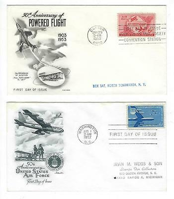 1953 & 1957 USA Airmail First Day Covers - (K103)