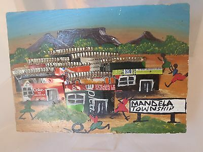 Nelson Mandela Township South Africa Folk Art COKE Soda Can Table Mtn Picture