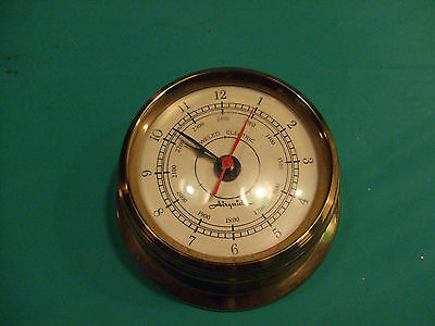 "Vintage Airguide 4"" Dia Brass Nautical Ship Clock Electric Jewelled Movement"