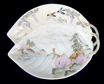 Porcelain Leaf Shaped Dish Hand Painted Embossed Makers Mark