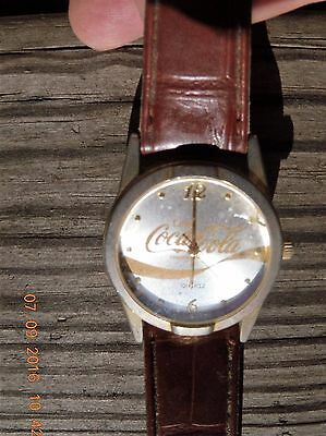 Coca-Cola Quartz  wrist watch - Silver / Gold dial face - leather band