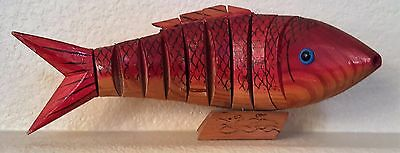 Wood Hand Carved Flexible Fish  ~ Clear Eyes ~ Moves Naturally as if Swimming