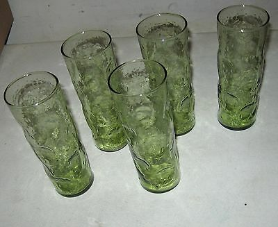 (5) 7 Inch Vintage Mid Century Blenko Blown Glass Dimple Pinched Green Tumblers