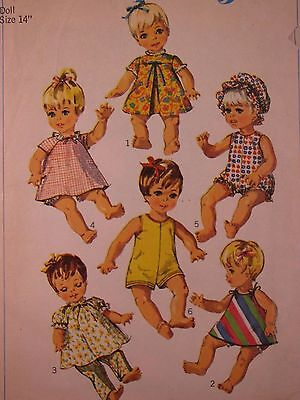 """1967 SIMPLICITY 7368 14"""" Doll Clothes sewing Pattern 10 piece wardrobe Vintage"""