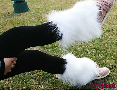 Popular faux fur funky leg warmers boots cover  dancing shoes cover white