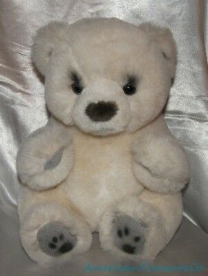 "NEW Vintage Russ Yomiko Collection Plush 14"" Realistic Cream Bear w/Leather Paws"