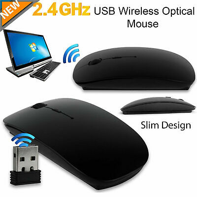 Black Optical Wireless Cordless Compact Mouse 120 DPI 2.4 GHz Windows & Mac Mice