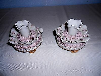 Antique Set of Porcelain Footed Candlestick Holders w/Pink Roses & Gold Trim