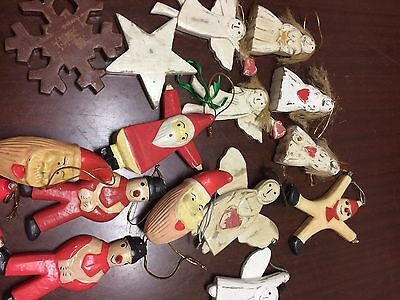 Vintage Christmas Decorations Bag Of  20 Wooden Decorations