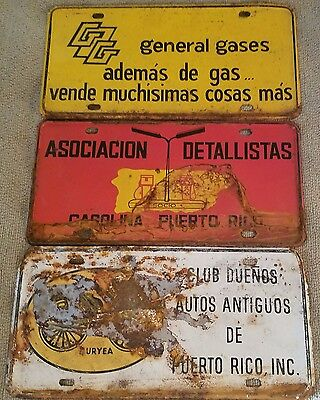 Lot of 3 Vintage Puerto Rico License Plates Auto Club General Gases Detailers