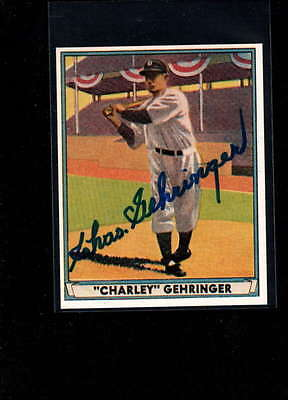 1941 Play Ball Reprint #19 Charles Gehringer Authentic On Card Autograph Signatu