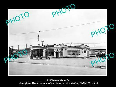 OLD LARGE HISTORIC PHOTO OF St THOMAS ONTARIO, RED INDIAN OIL GAS STATION 1930