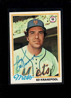 1978 Topps #49 Ed Kranepool  Authentic On Card Autograph Signature Ax2009