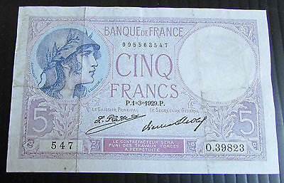 1929 + France French 5 Franc Banknote