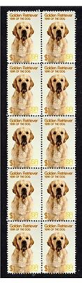 Golden Retriever Year Of The Dog Strip Of 10 Mint Stamps 4