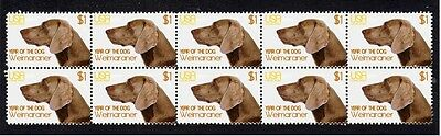 Weimaraner Year Of The Dog Strip Of 10 Mint Stamps 3
