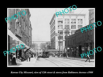 OLD LARGE HISTORIC PHOTO OF KANSAS CITY MISSOURI, VIEW OF 12th & STORES c1900