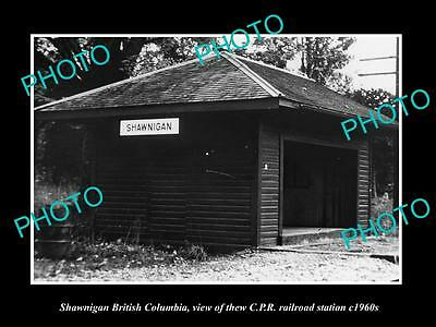OLD LARGE HISTORIC PHOTO OF SHAWNIGAN BC CANADA, THE CPR RAILWAY STATION c1960