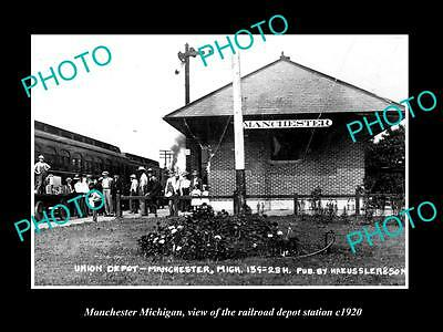 Old Large Historic Photo Of Manchester Michigan, View Of The Railroad Depot 1920