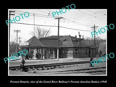 Old Large Historic Photo Of Preston Ontario, The Grand River Railroad Depot 1940