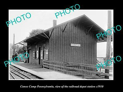 OLD LARGE HISTORIC PHOTO OF CANOE CAMP PENNSYLVANIA, THE RAILROAD DEPOT c1910