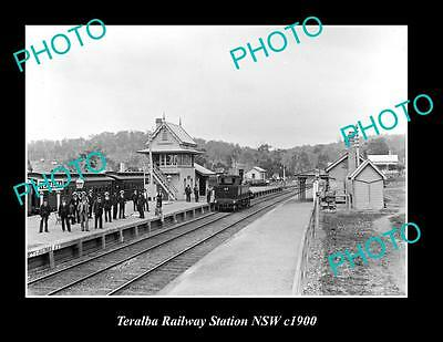 OLD LARGE HISTORIC PHOTO OF TERALBA NSW, RAILWAY STATION PLATFORM c1900