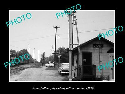 OLD LARGE HISTORIC PHOTO OF BRANT INDIANA, THE RAILROAD DEPOT STATION c1960 2