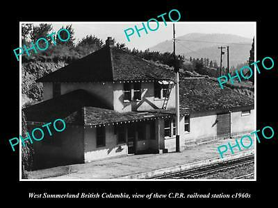 OLD HISTORIC PHOTO OF WEST SUMMERLAND BC CANADA, THE CPR RAILWAY STATION c1960