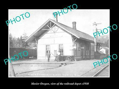 OLD LARGE HISTORIC PHOTO OF MOSIER OREGON, THE RAILROAD DEPOT STATION c1930