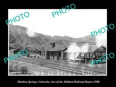 OLD HISTORIC PHOTO OF MANITOU SPRINGS COLORADO, RAILROAD DEPOT STATION c1900 2