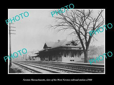 Old Large Historic Photo Of Newton Massachusetts, The West Railroad Depot 1900