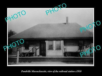 OLD LARGE HISTORIC PHOTO OF PONDVILLE MASSACHUSETTS, THE RAILROAD STATION c1910
