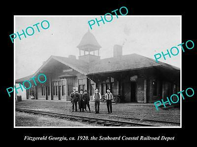 OLD LARGE HISTORIC PHOTO OF FITZGERALD GEORGIA, THE RAILROAD DEPOT STATION c1920