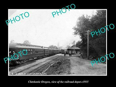 OLD LARGE HISTORIC PHOTO OF CLATSKANIE OREGON, THE RAILROAD DEPOT STATION c1915