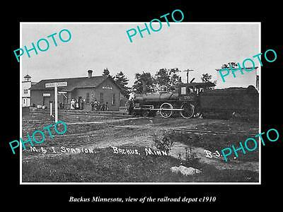 OLD LARGE HISTORIC PHOTO OF BACKUS MINNESOTA, VIEW OF THE RAILROAD DEPOT c1910