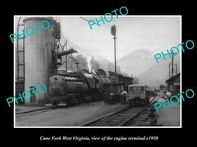 OLD LARGE HISTORIC PHOTO OF CANE FORK WEST VIRGINIA, THE ENGINE TERMINAL c1950