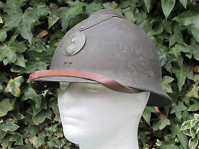 WW2 M26 French Army Adrian helmet with liner and chin strap
