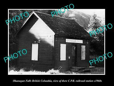 OLD LARGE HISTORIC PHOTO OF OKANAGAN FALLS BC CANADA, CPR RAILWAY STATION c1960