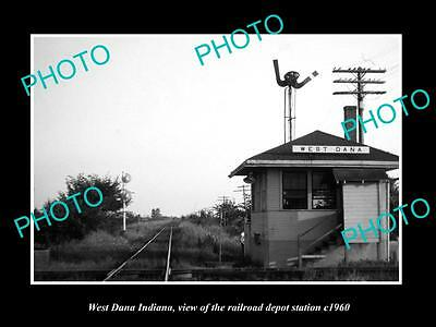 OLD LARGE HISTORIC PHOTO OF WEST DANA INDIANA, THE RAILROAD DEPOT STATION c1960