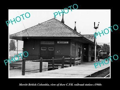 OLD LARGE HISTORIC PHOTO OF MERRITT BC CANADA, THE CPR RAILWAY STATION c1960