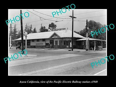 Old Historic Photo Of Azusa California, Pacific Electric Railway Station 1940