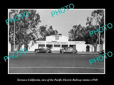 Old Historic Photo Of Torrance California Pacific Electric Railway Station 1940