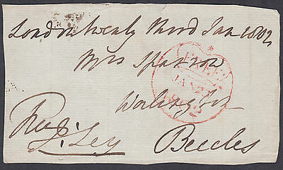 1802 Free Frank(Crown inside Circle) London:Worlington,Beccles;signed Ley; FRONT