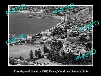 OLD LARGE HISTORIC PHOTO OF ROSE BAY & VAUCLUSE, CRANBROOK SCHOOL c1930s