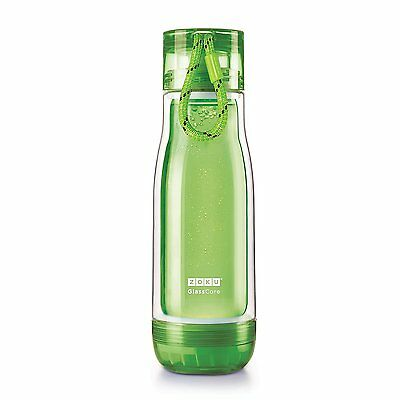 Zoku Double Wall Glass CoreOutdoor Sports Hydration Water Bottle, 475ml, Green