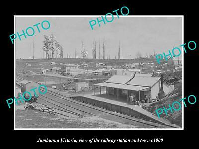 OLD LARGE HISTORIC PHOTO OF JUMBUNNA VICTORIA, VIEW OF THE RAILWAY STATION c1900